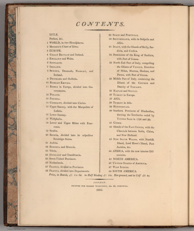 Table of Contents: Contents ... 1805.
