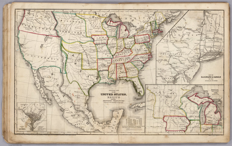 Political Map Of The United States, Mexico and British provinces