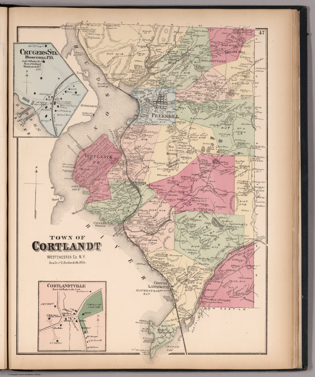 Town of Cortlandt, Westchester County, New York. (insets) Cortlandtville. Crugers Sta., Boscobel P.O.