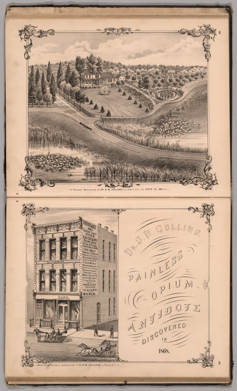 View: Residence, Business House and Laboratory of Dr. S.B. Collins, Laporte County, Indiana.