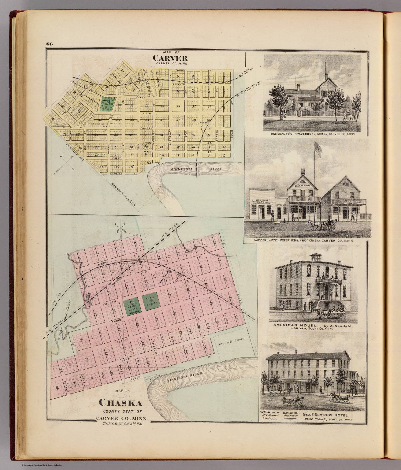 Map of Chaska and Map of Carver, Carver Co., Minn., with 4 views.