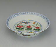 Dish with lotus pond in wu-cai enamels