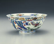 Bowl with immortal design in wu-cai enamels