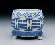 Censer with eight divinatory trig rams in underglaze blue