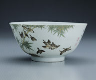 Bowl with sparrows among bamboo trees in polychrome enamels