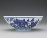Bowl with underglaze-blue illustration of fairies on phoenixes