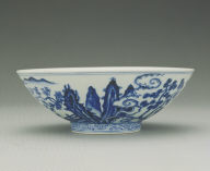 Bowl with underglaze-blue illustration of fairies on cranes