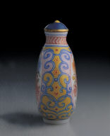 Glass bodied painted enamel snuff bottle with floral design