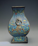 Cloisonne fang vessel with dragon and phoenix decor