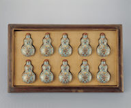 Porcelain gourd-shaped snuff bottle with intertwined floral design in famille rose. Set of ten