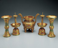Set of five champleve altar pieces with lotus-spray decor
