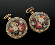 Pair of pocket watches with painted enameled floral decoration