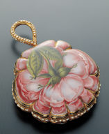 Pocket watches with painted enameled roses decoration