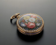 Pocket watches with painted enameled floral decoration