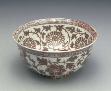 Bowl with floral design in underglaze red