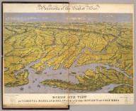 Panorama of the Seat of War. Birds Eye View Of Virginia, Maryland Delaware And The District Of Columbia. John Bachmann, Publisher, 115 & 117 Nassau St., New York. Entered ... 1861 by John Bachmann ... New York. Drawn from Nature and Lith. by John Bachmann.