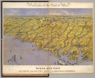 Panorama of the Seat of War. Birds Eye View Of North And South Carolina And Part Of Georgia. John Bachmann, Publisher, 115 & 117 Nassau St., New York. Entered ... 1861 by John Bachmann ... New York. Drawn from Nature and Lith. by John Bachmann.