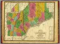 Map of Maine, New Hampshire,and Vermont.