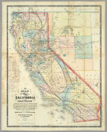 New Map Of The State Of California And Nevada Territory Exhibiting the Rivers, Lakes, Bays and Islands, with the principal Towns, Roads, Railroads and Transit Routes to the Silver Mining Districts of Nevada Territory ... Carefully compiled from United States and other Reliable Surveys by Leander Ransom. A.J. Doolittle, 1863. ... Entered ... 1863 by Warren Holt ... California. Lith. by L. Nagel, 529 Clay St. San Francisco.