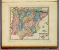 Spain and Portugal. (with) inset map of The Islands of Majorca & Minorca.