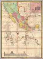 Map Of Mexico, Including Yucatan & Upper California, exhibiting The Chief Cities and Towns, The Principal Travelling Routes &c. Philadelphia: Published by S. Augustus Mitchell N.E. Corner Of Market And Seventh Sts. 1847. Entered ... 1847 by S. Augustus Mitchell ... Pennsylvania. (inset) The Late Battlefield. (with) Map of the Principal Roads from Vera Cruz and Alvarado to the City of Mexico ... Compiled from the latest and best Authorities. By Geo. Stealey, Civil Engineer.