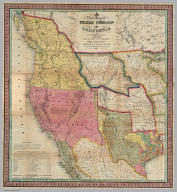 A New Map of Texas Oregon and California With The Regions Adjoining. Compiled from the most recent authorities. Philadelphia Published by S. Augustus Mitchell N.E. Corner Of Market & Seventh Streets. 1846. Entered ... 1845 by H.N. Burroughs ... Pennsylvania.