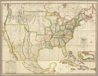 Map of the United States with the contiguous British & Spanish Possessions Compiled from the latest & best Authorities By John Melish. Engraved by J. Vallance & H.S. Tanner. Entered ... 16th day of June 1820. Published by James Finlayson Agent Philada. Successor to John Melish, Improved to 1823. (inset) West Indies.