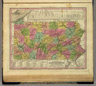 A New Map Of Pennsylvania with its Canals, Rail-Roads & Distances from Place to Place along the Stage Roads. By H.S. Tanner. Engraved by W. Brose, Philadelphia. Entered ... 1833 by H.S. Tanner ... Pennsylvania. Published by H.S. Tanner, Philadelphia. (above neat line) Tanner's Universal Atlas.