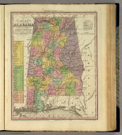 A New Map Of Alabama With Its Roads & Distances from place to place, along the Stage & Steam Boat Routes by H.S. Tanner. Engraved by W. Brose, Philadelphia. Entered ... 1833 by H.S. Tanner ... Pennsylvania. Published by H.S. Tanner No. 144 Chesnut St. Philadelphia. (above neat line) Tanner's Universal Atlas.