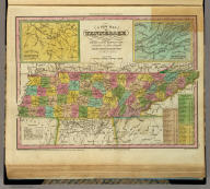 A New Map Of Tennessee With Its Roads & Distances from place to place, along the Stage & Steam Boat Routes. by H.S. Tanner. (with) two inset maps: Environs of Nashville ... of Knoxville. Engraved by J. & W.W. Warr. Entered ... 1833 by H.S. Tanner ... Pennsylvania. Published by H.S. Tanner No. 144 Chesnut St. Philadelphia. (above neat line) Tanner's Universal Atlas.