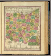 A New Map Of Ohio with its Canals, Roads & Distances, By H.S. Tanner. (with) Cincinnati. Engraved by E.B. Dawson. Entered ... 1833 by H.S. Tanner ... Pennsylvania. Published by H.S. Tanner, No. 144 Chesnut St. Philadelphia. (above neat line) Tanner's Universal Atlas.
