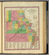 A New Map Of Missouri With Its Roads & Distances. By H.S. Tanner. Entered ... 1833 by H.S. Tanner ... Pennsylvania. Published by H.S. Tanner No. 144 Chesnut St. Philadelphia. (above neat line) Tanner's Universal Atlas.