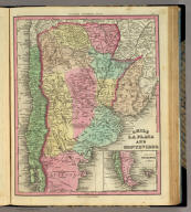 Chile La Plata And Montevideo. (with) South Part Of Patagonia. Published by H.S. Tanner, Philadelphia. (above neat line) Tanner's Universal Atlas.