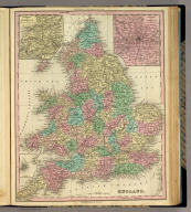 England. (with) three inset maps: Environs of Liverpool. ... of London. Scilly Ids. Philadelphia, Published by H.S. Tanner. (above neat line) Tanner's Universal Atlas.