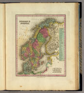 Sweden & Norway. Engraved by F. Dankworth. Philadelphia, Published by H.S. Tanner. (above neat line) Tanner's Universal Atlas.