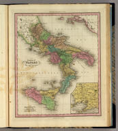Kingdom of Naples or The Two Sicilies. (with) Environs of Naples. Engraved by E.B. Dawson. Philadelphia, Published by H.S. Tanner. (above neat line) Tanner's Universal Atlas.