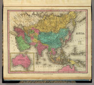 Asia. (with) Australia. Engraved by J. & W.W. Warr. Published by H.S. Tanner, Philadelphia. (above neat line) Tanner's Universal Atlas.