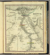 Egypt &c. (with) inset map of southern Egypt. Engraved by J. & W.W. Warr. Published by H.S. Tanner Philadelphia. (above neat line) Tanner's Universal Atlas.