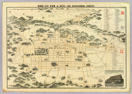 Bird's eye view of Kioto and surrounding country / Y. Shimidzu. [after 1868]