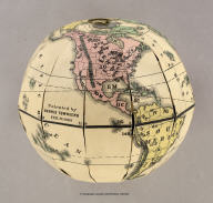 Townsend's Patent Folding Globe. Patented by Dennis Townsend Feb. 16, 1869. (expanded globe).