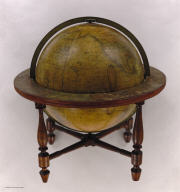 A New American Thirteen Inch Terrestrial Globe, Exhibiting with the Greatest Possible Accuracy, The Positions of the Principal Known Places of the Earth, with the Tracks of Various Circumnavigators, Together with New Discoveries and Political Alterations Down to the present Period: 1834. By J. Wilson & Sons, Albany St. N.Y. S. Wood & Sons Agents N. York.