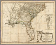 A General Map of the Southern British Colonies, in America. containing North and South Carolina, Georgia, East and West Florida, with the Neighbouring Indian Countries. From the Modern Surveys of Engineer de Brahm, Capt. Collet, Mouzon & Others, and from the Large Hydrographical Survey of the Coasts of East and West Florida. By B. Romans, 1776. (with) Plan of Charleston and ... St. Augustine. London: Printed for R. Sayer & J. Bennett ... 15th Octr. 1776.