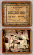 (Box Cover to) J.H. Colton's Series of Dissected Maps. North America. South America. Europe. United States. Asia. Africa. In Two Sizes. (On the side of the box: United States). (Title of Map Puzzle: United States of America. Entered ... In the Year 1860 ...).