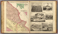 """Plat of Windsor (with) Plat of Town of Fulton. Map Number Five. (Santa Rosa and Sonoma Townships.) (facing page) View of J.B. Armstrong's Villa Plats, at Norwood, adjoining the City of Santa Rosa. (with) City Stables, Santa Rosa. (with) Hinds' Hotel, Freestone. (with) """"Oak Wood Villa,"""" Res. of Mrs. Dr. Barrett, Healdsburg. (with) Res. of J.J. Wheeler, Santa Rosa. (with) Res. of Mary Brooks, Russian River Tp. (all) Sonoma County, Cal."""