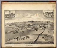 View of Washoe Corners and the Res. and Stock of H. Mecham, and a portion of his Rancho. Petaluma, Sonoma Co., Cal. (with two inset views) Holly and Magoon (and) Washoe House. A Rickett, Proprietor.