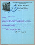 Letter from Rand McNally & Co. to The Montana Mining Co. dated Feb 21, 1899.