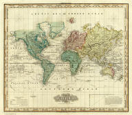 The World on Mercators Projection. Engraved & Published by Tanner, Vallance, Kearney & Co. Philadelphia. American Atlas.