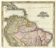 South America and West Indies. 1818. (northern section) Drawn, Engraved & Published by Tanner, Vallance, Kearney & Co. Philadelphia. American Atlas.