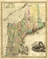 Map Of The States Of Maine, New Hampshire, Vermont, Massachusetts, Connecticut & Rhode Island By H.S. Tanner. (with) North Part of Maine. Engraved & Published by H.S. Tanner, Philadelphia. Entered ... 14th day of Novr. 1820 by H.S. Tanner ... Pennsylvania. American Atlas.