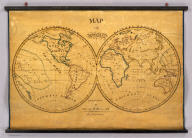 Map of the World. Executed by Anna M. Bullard. Boston March 15, 1836. Western Hemisphere. Eastern Hemisphere.